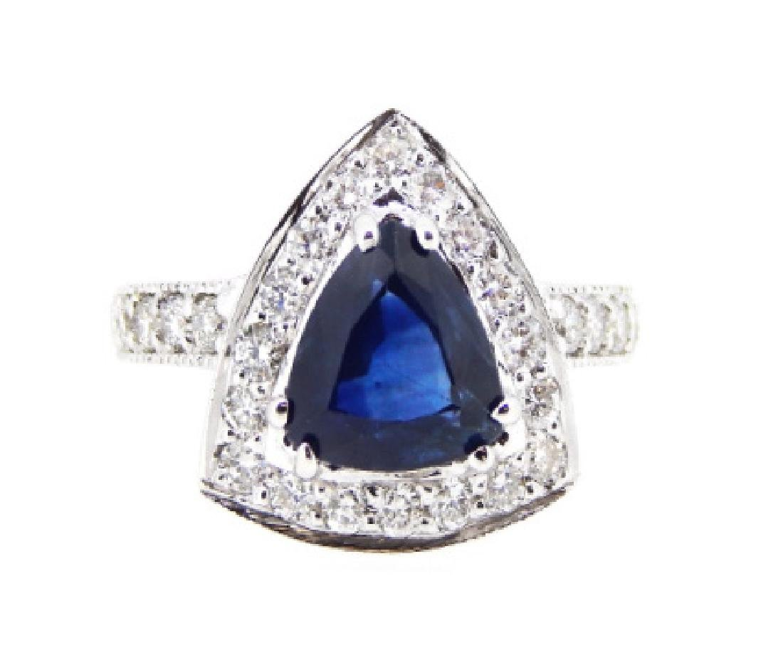 18KT White Gold 2.25ct Blue Sapphire and Diamond Ring
