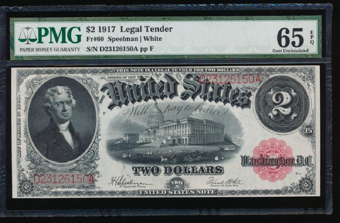 1917 $2 Large Legal Tender Note PMG 65EPQ