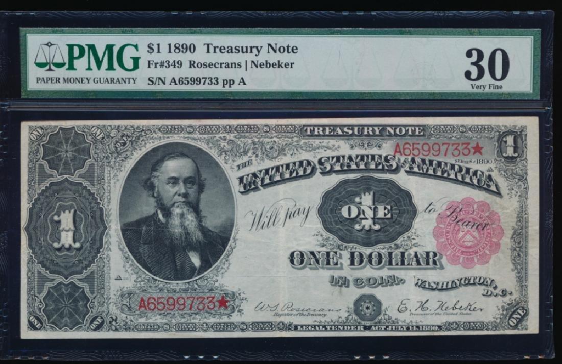 1890 $1 Treasury Note PMG 30