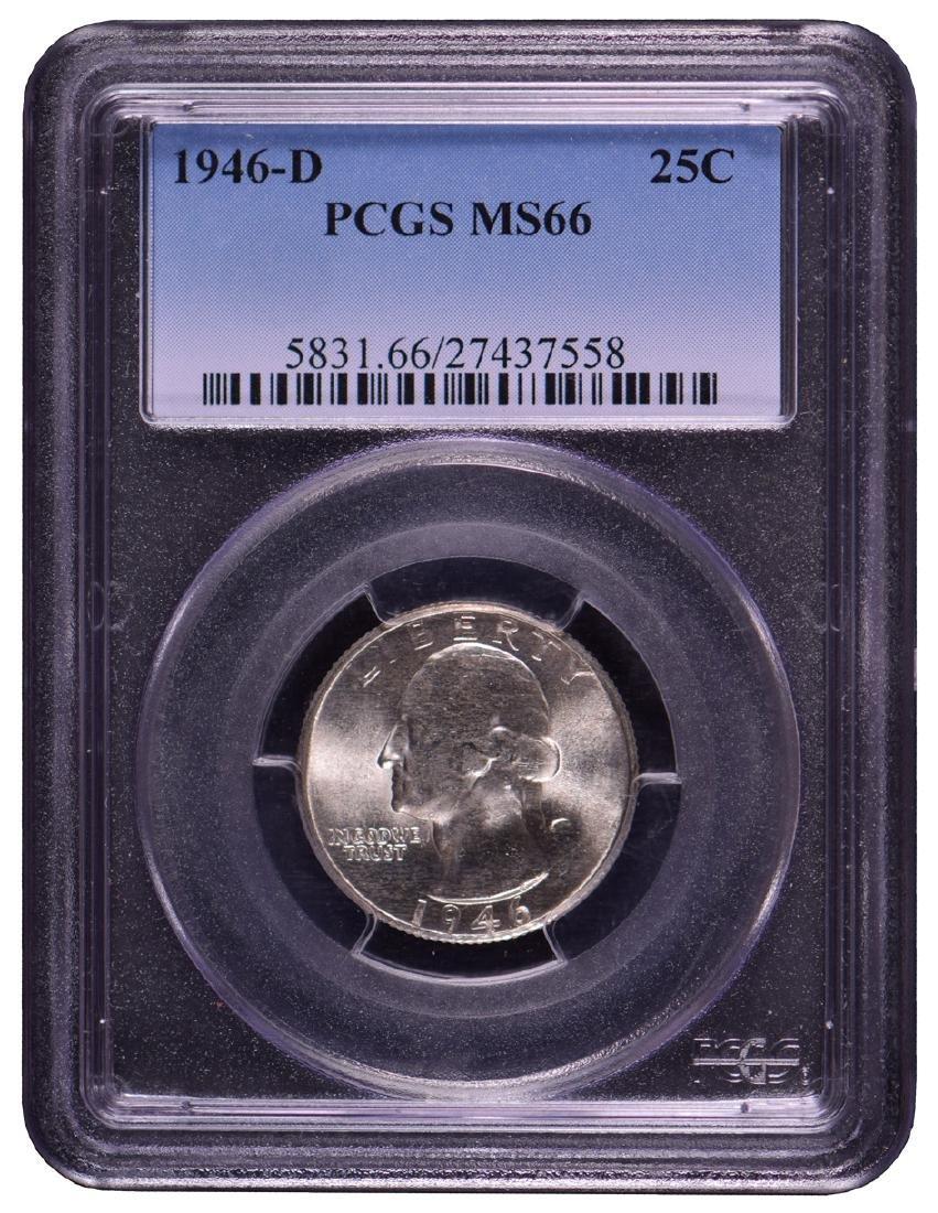 1946-D Washington Quarter Coin PCGS MS66