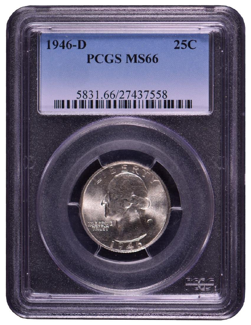 1946-D Washington Quarter Coin PCGS MS66
