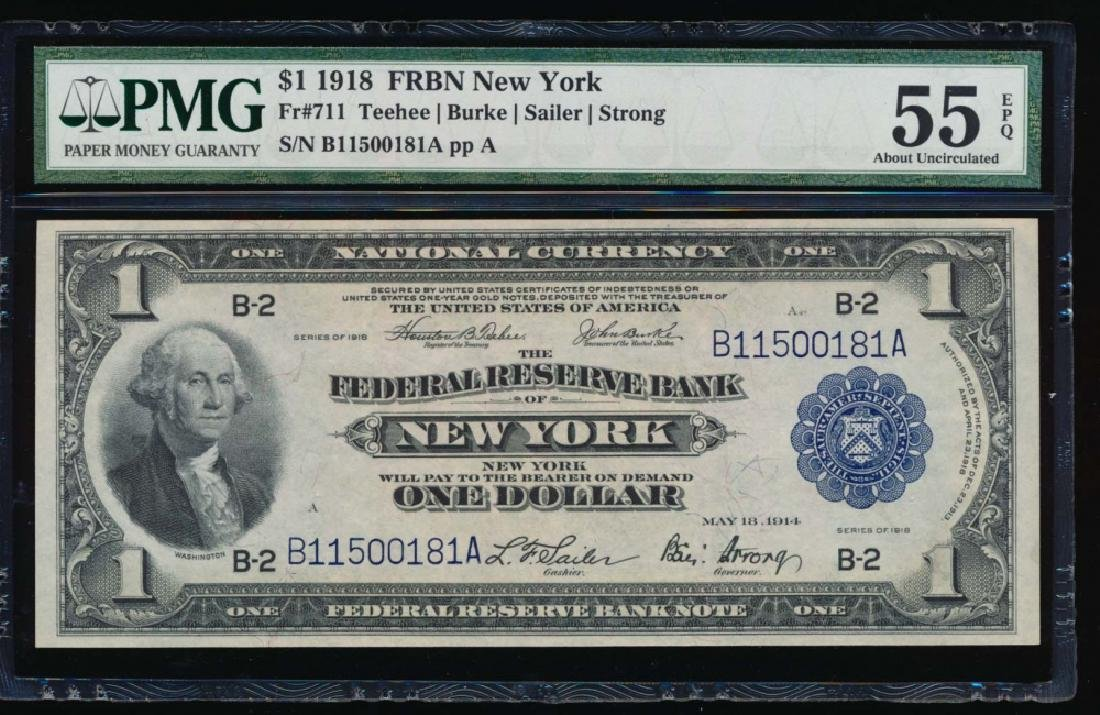 1918 $1 New York Federal Reserve Bank Note PMG 55EPQ