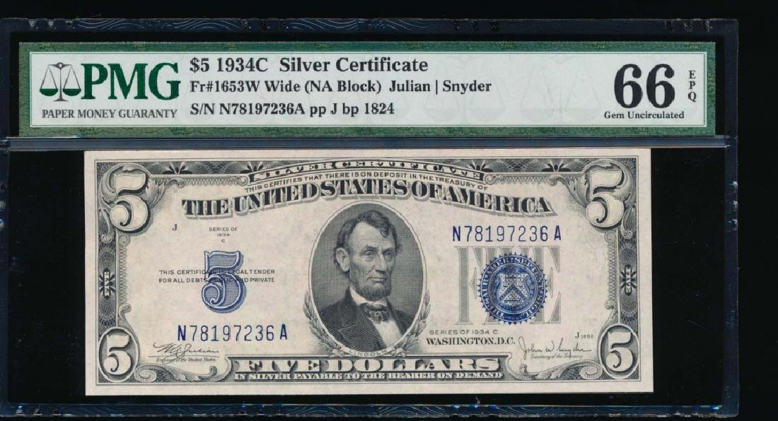 1934C $5 Silver Certificate PMG 66EPQ