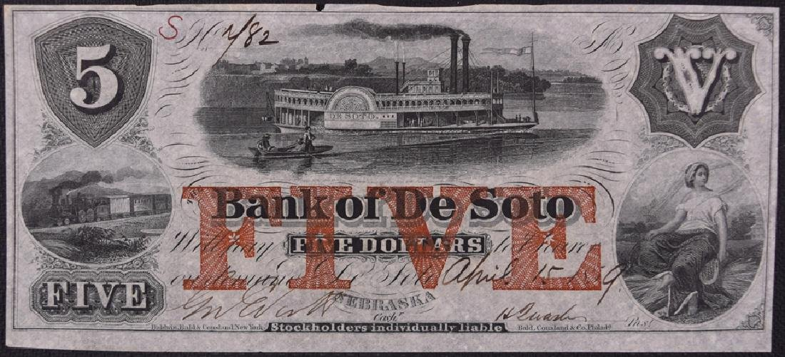 1859 $5 Bank of De Soto Obsolete Bank Note