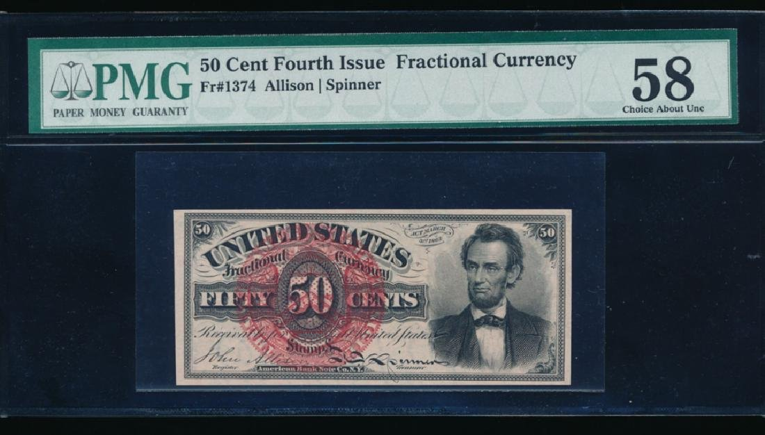 50 Cent Fourth Issue Lincoln Fractional Note PMG 58