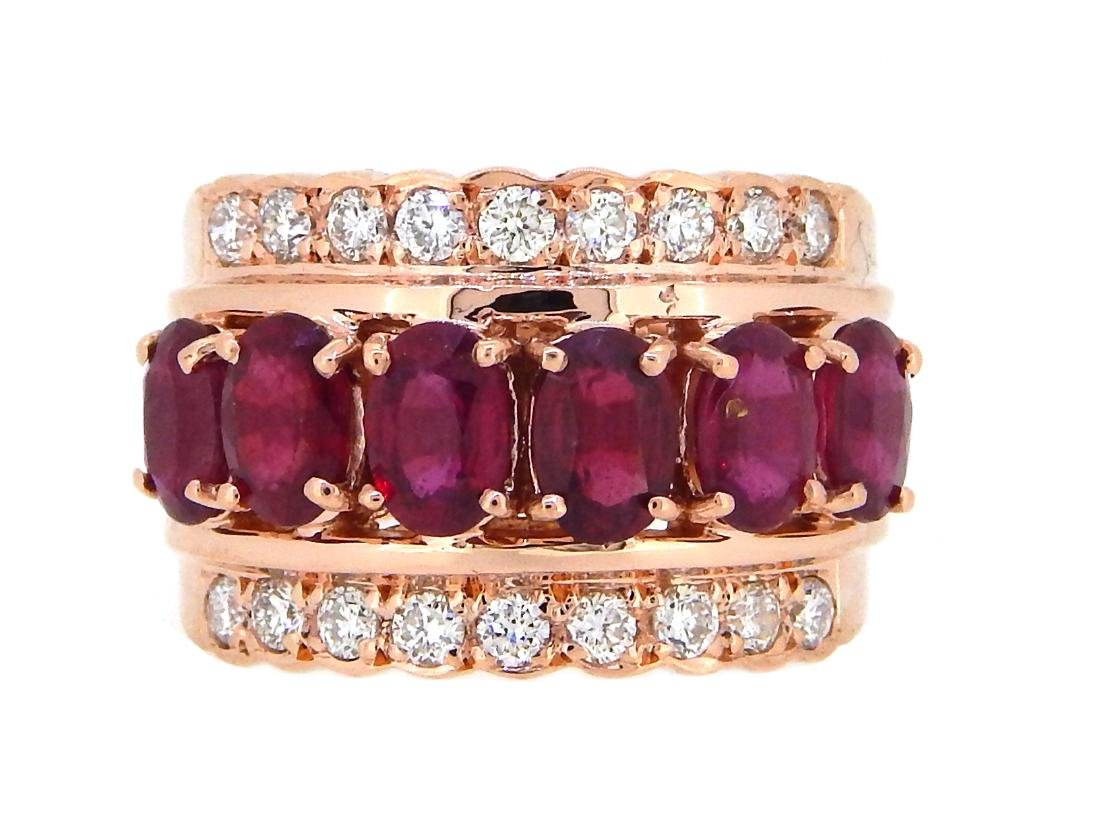14KT Rose Gold 3.61ctw Ruby and Diamond Ring