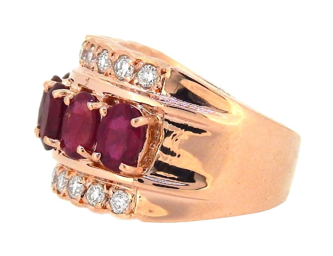 14KT Rose Gold 3.61ctw Ruby and Diamond Ring - 2