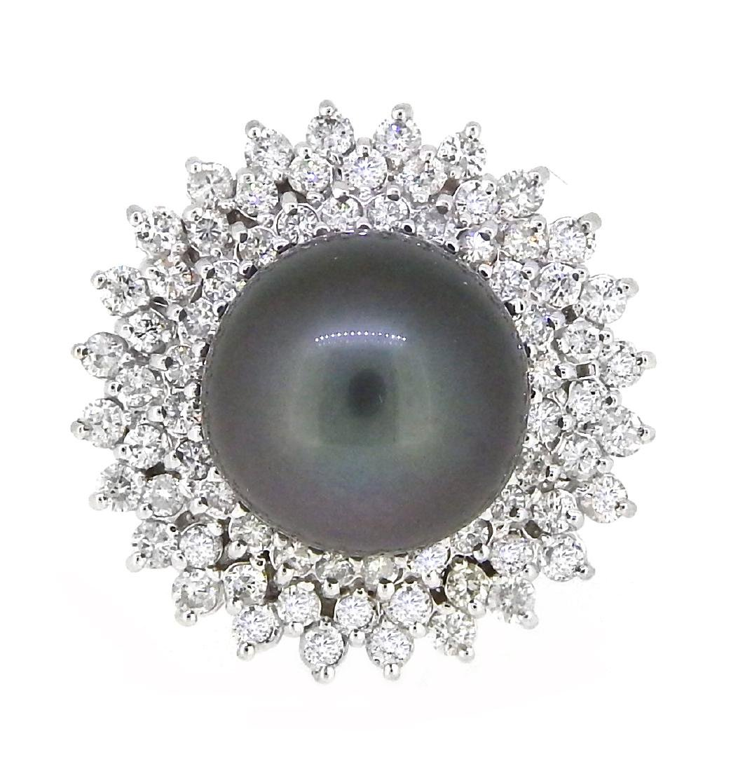 18K White Gold 14mm Tahitian Pearl and Diamond Ring