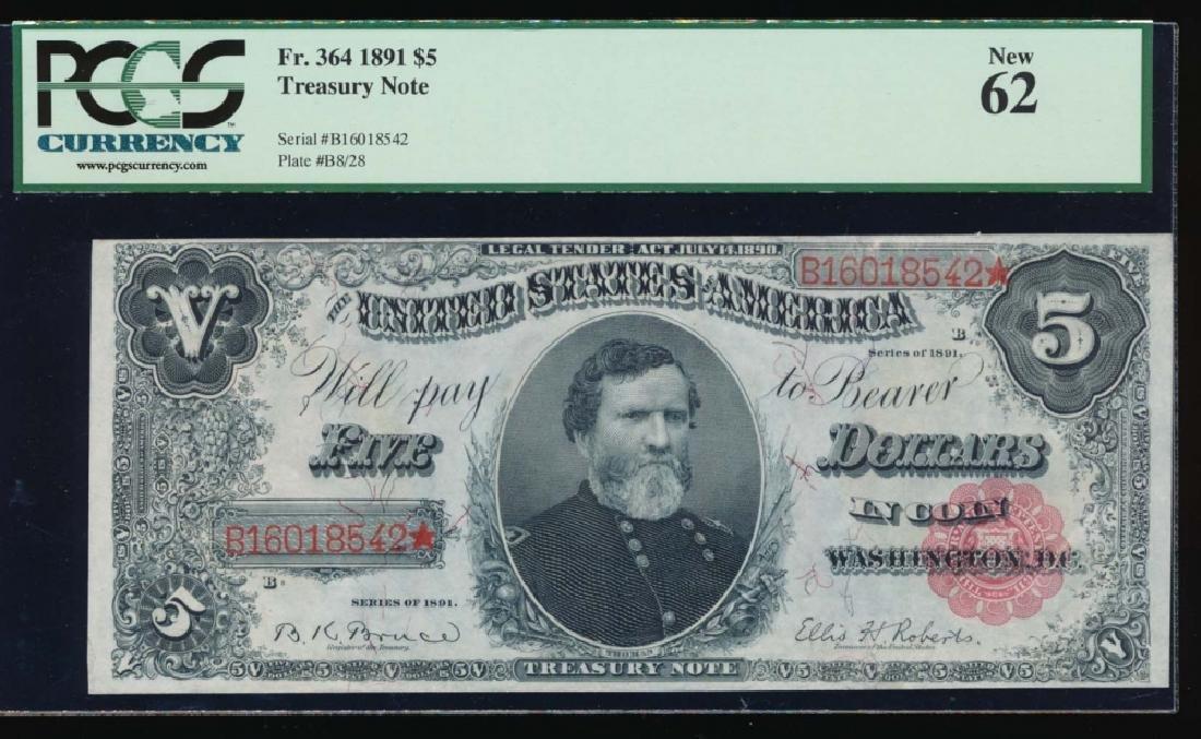 1891 $5 Treasury Note PCGS 62