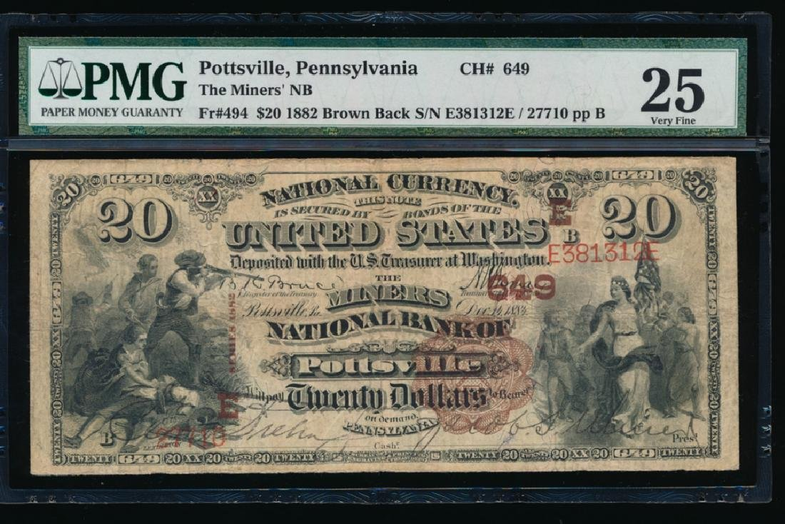 1882 $20 The Miners National Bank Note PMG 25