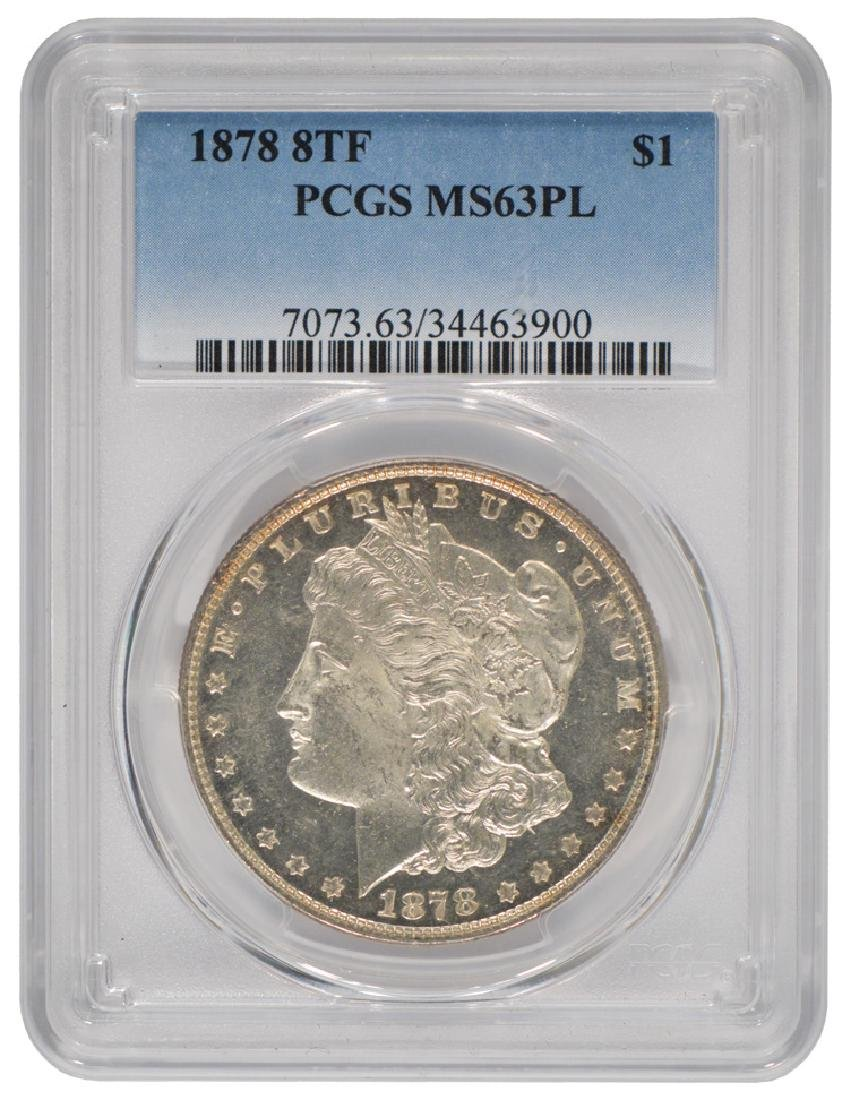 1878 8TF $1 Morgan Silver Dollar Coin PCGS MS63PL