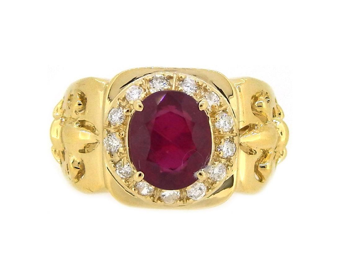 14KT Yellow Gold 4.07ct Ruby and Diamond Ring