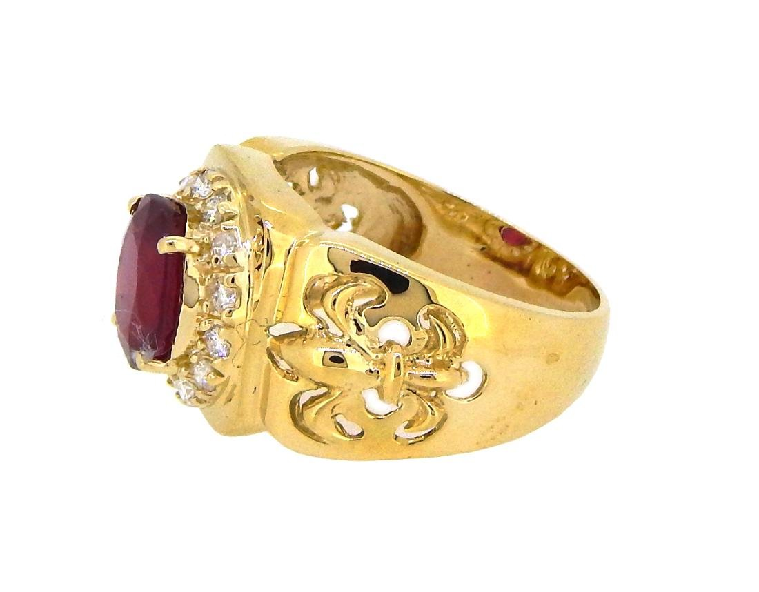 14KT Yellow Gold 4.07ct Ruby and Diamond Ring - 2