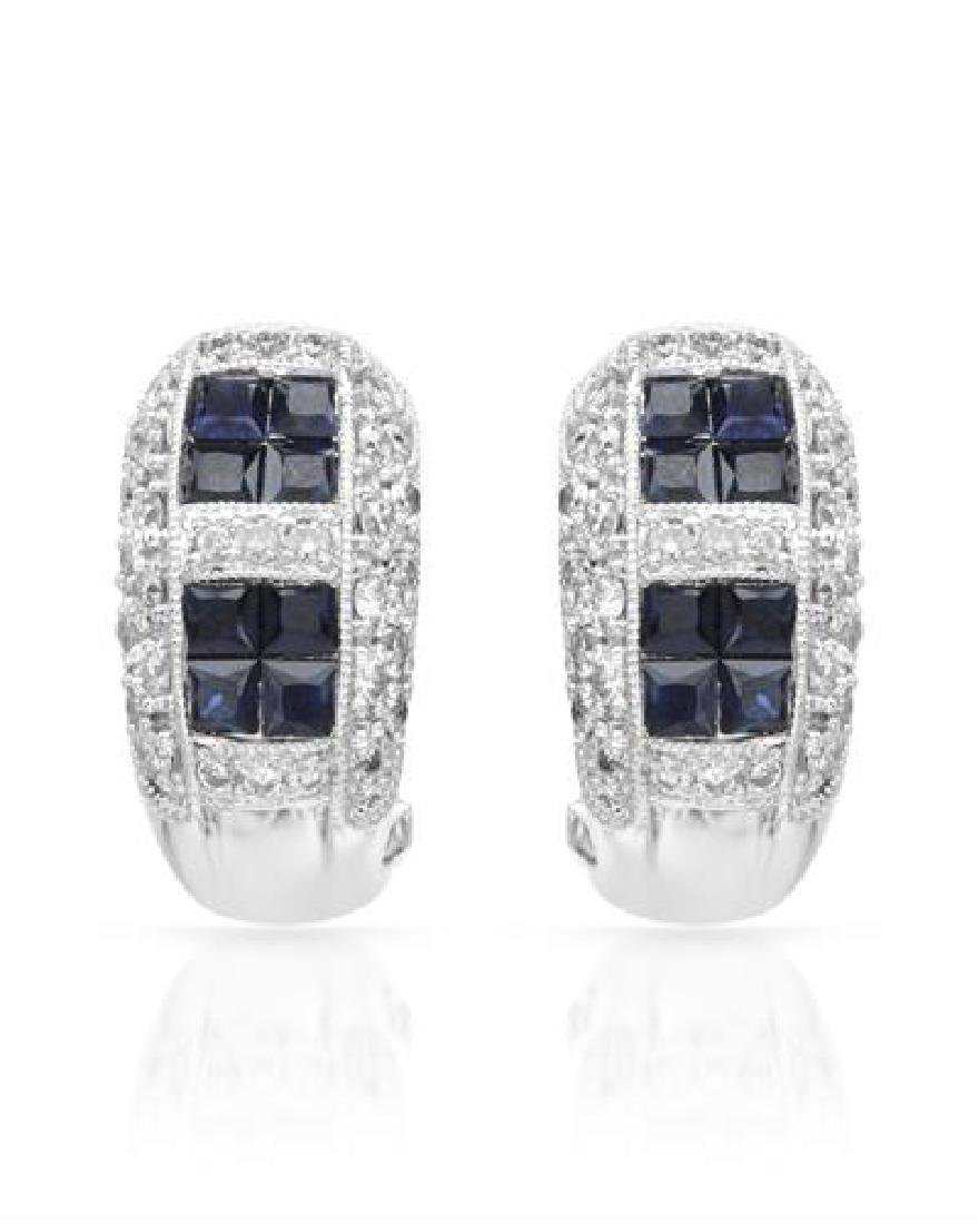 18KT White Gold 1.39ctw Blue Sapphire and Diamond