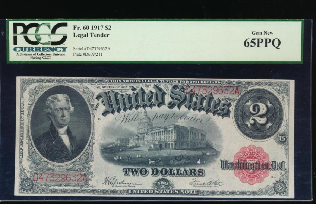 1917 $2 Large Legal Tender Note PCGS 65PPQ