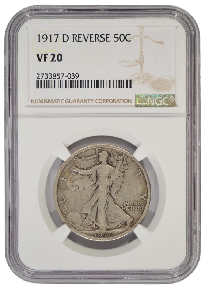 1917-D Reverse Mintmark Walking Liberty Half Dollar NGC