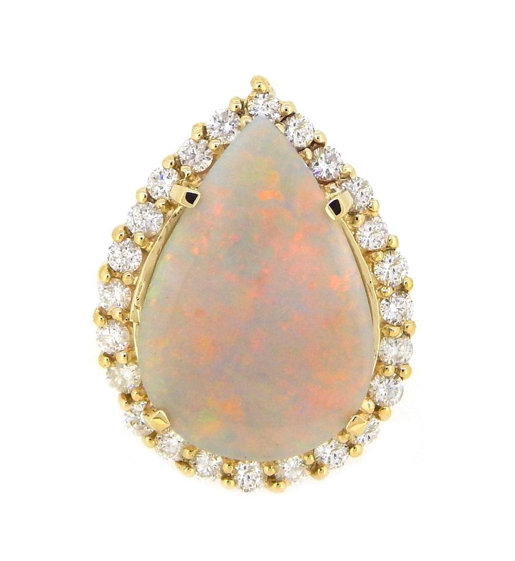 14KT Yellow Gold 7.25ct Opal and Diamond Ring