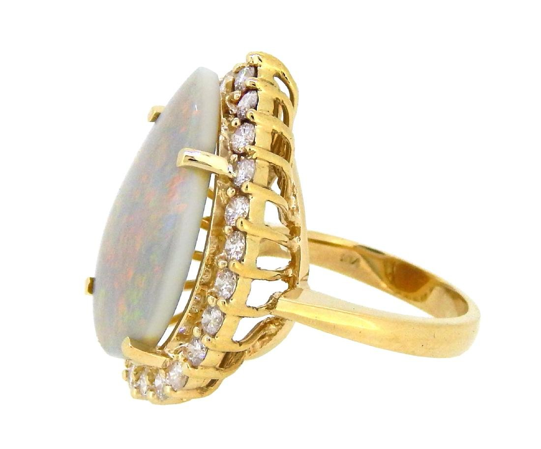14KT Yellow Gold 7.25ct Opal and Diamond Ring - 2