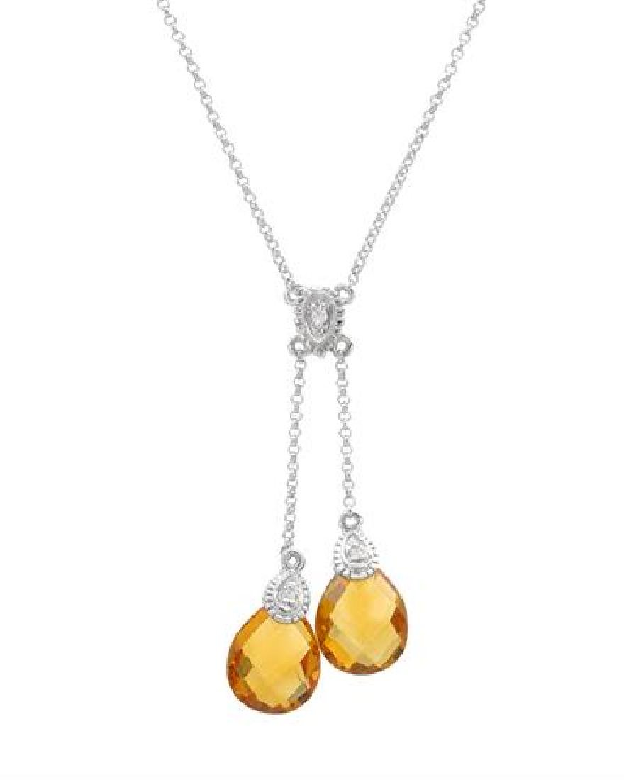 14KT White Gold 4.71ctw Citrine and Diamond Pendant