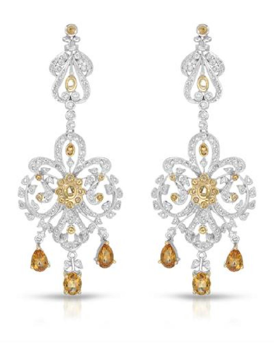 14KT White Gold 2.19ctw Citrine and Diamond Earrings
