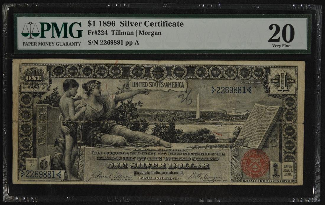 1896 $1 Educational Silver Certificate PMG VF20