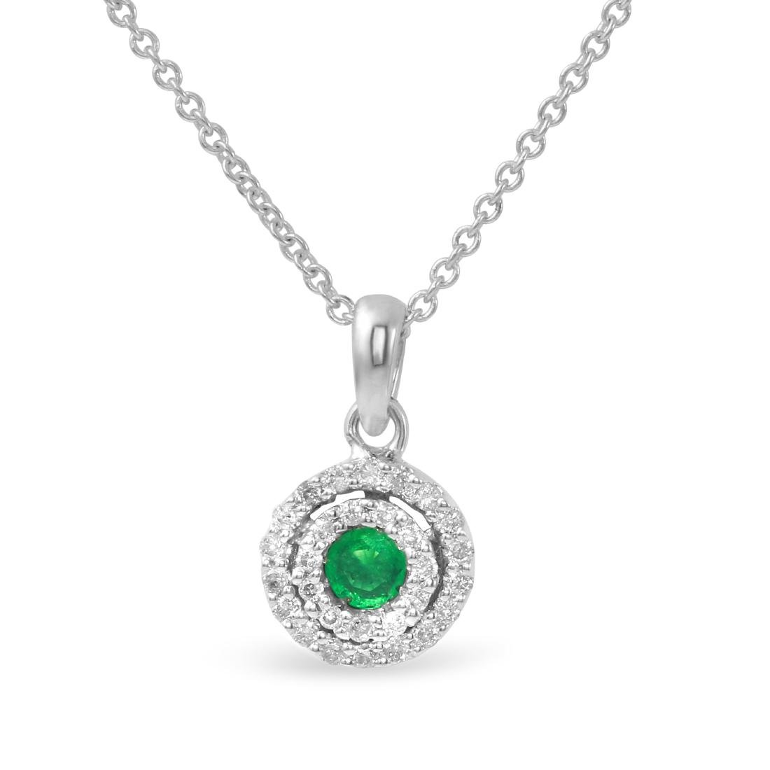 14KT White Gold Emerald and Diamond Pendant with Chain