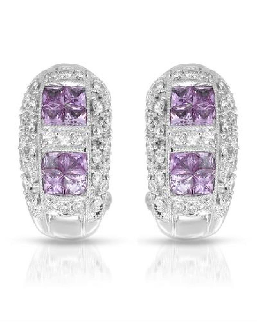 18KT White Gold 0.55ctw Pink Sapphire and Diamond