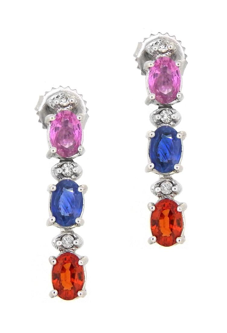 14KT White Gold 3.65ctw Multi Color Sapphire and