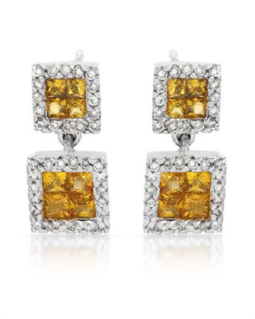 14KT White Gold 1.05ctw Yellow Sapphire and Diamond