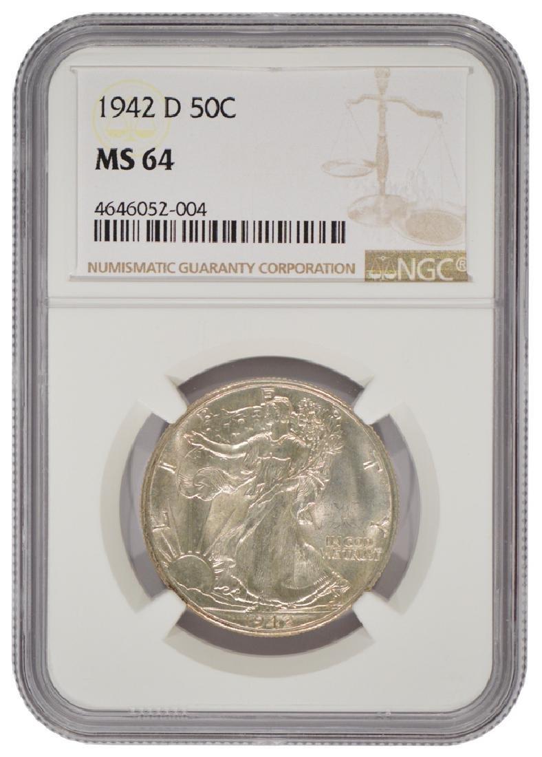 1942-D Walking Liberty Half Dollar Coin NGC MS64