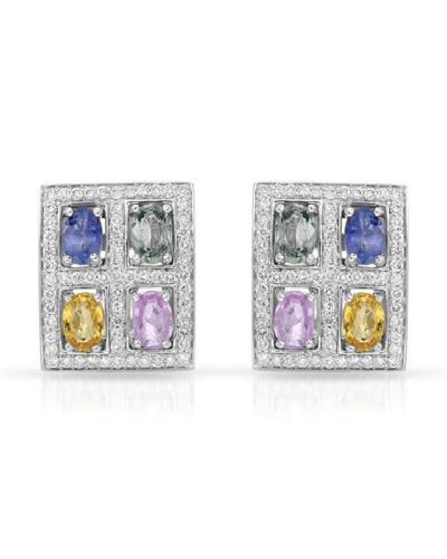 14KT White Gold 4.27ctw Multi Color Sapphire and