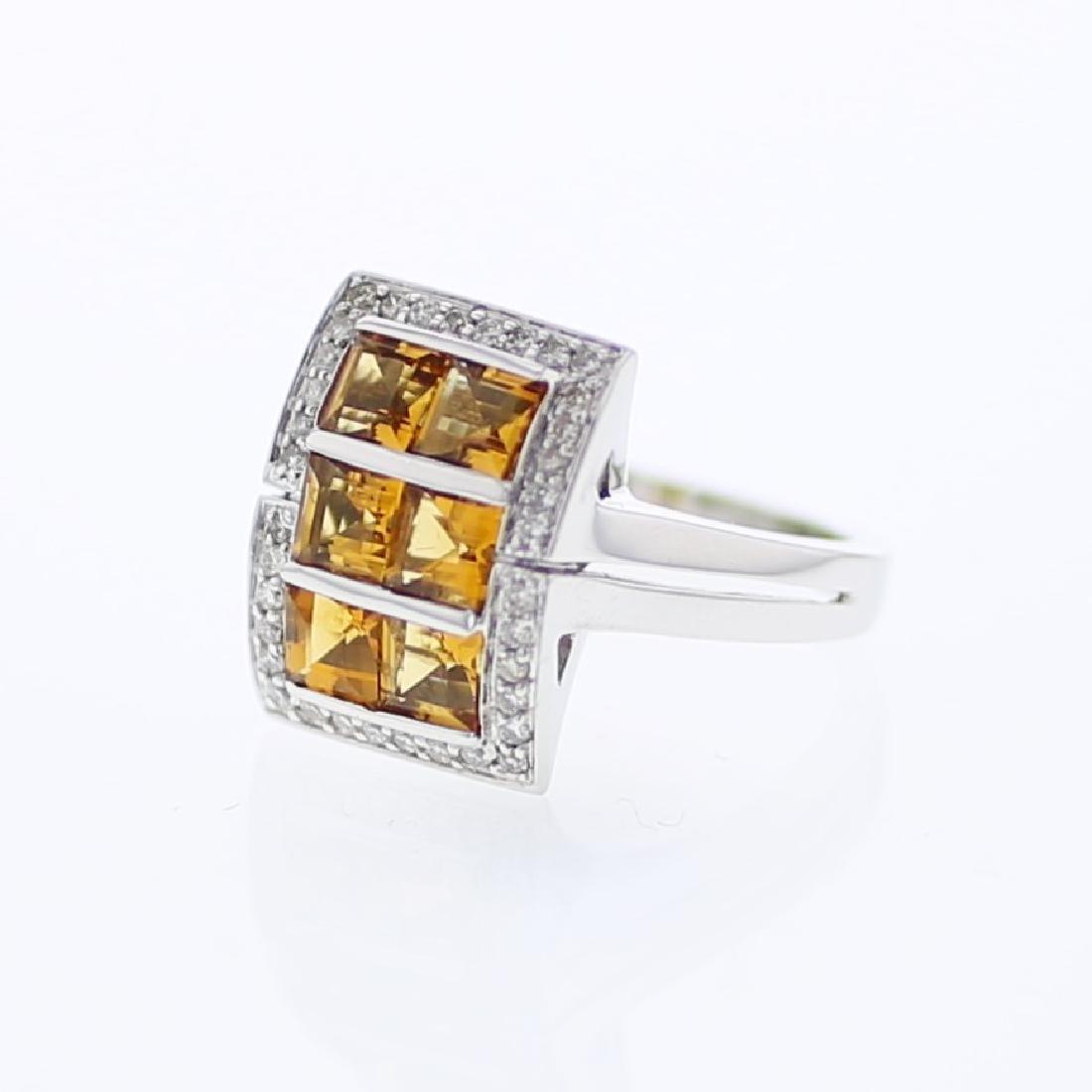 18KT White Gold 1.78ctw Citrine and Diamond Ring