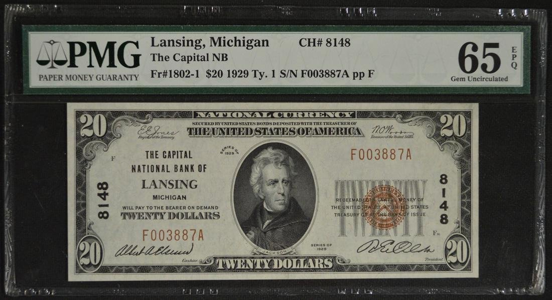1929 $20 National Bank of Lansing Michigan Note PMG