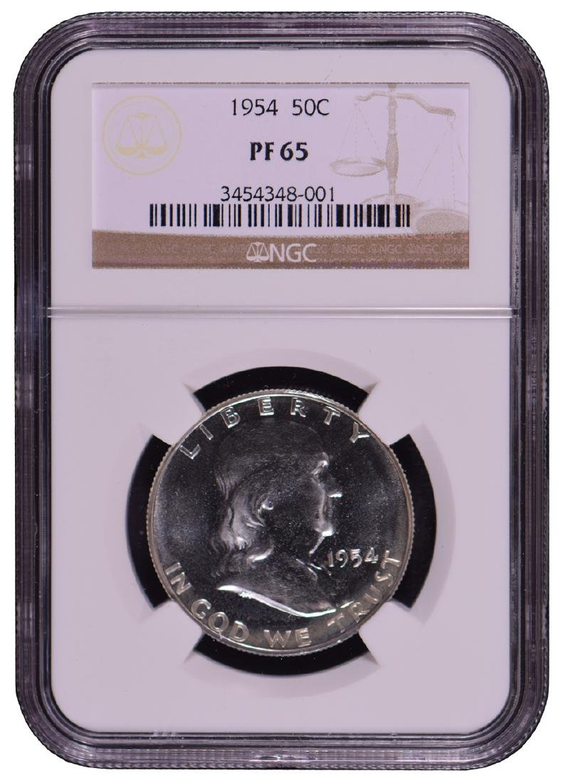 1954 Franklin Half Dollar Coin NGC PF65