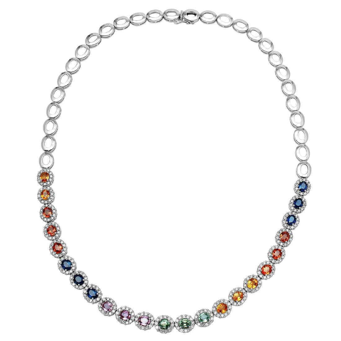 14KT White Gold 11.18ctw Multi Color Sapphire and