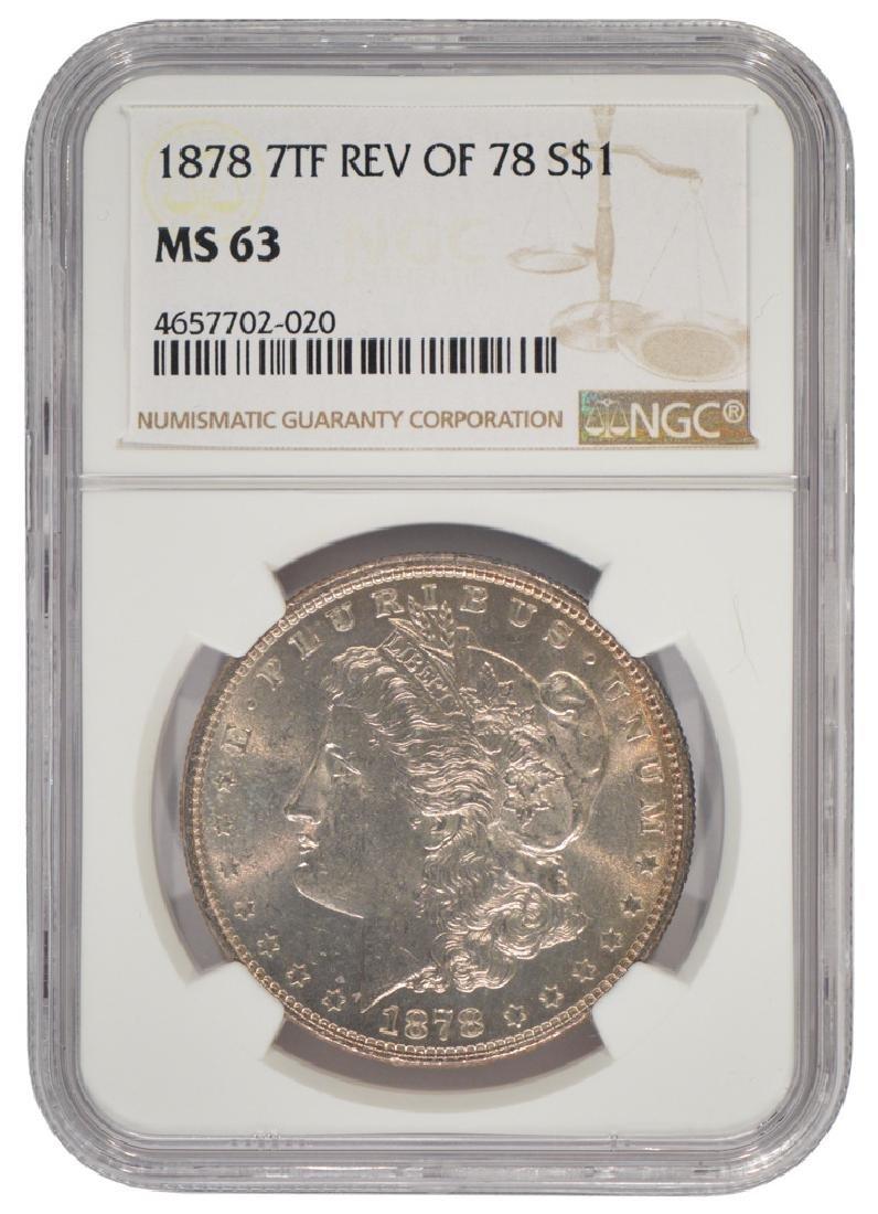 1878 7TF Reverse of 78 $1 Morgan Silver Dollar NGC MS63
