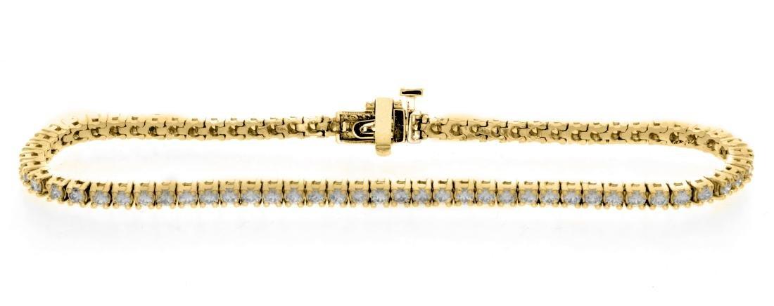 18KT Yellow Gold 2.00ctw Diamond Tennis Bracelet