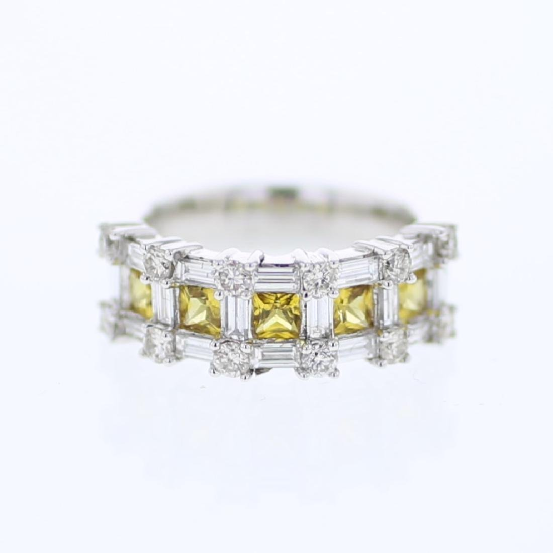 14KT White Gold 1.06ctw Yellow Sapphire and Diamond