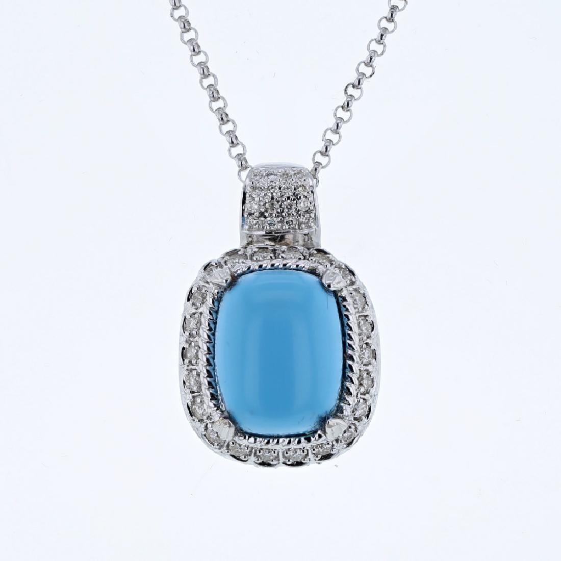 14KT White Gold 7.13ct Turquoise and Diamond Pendant