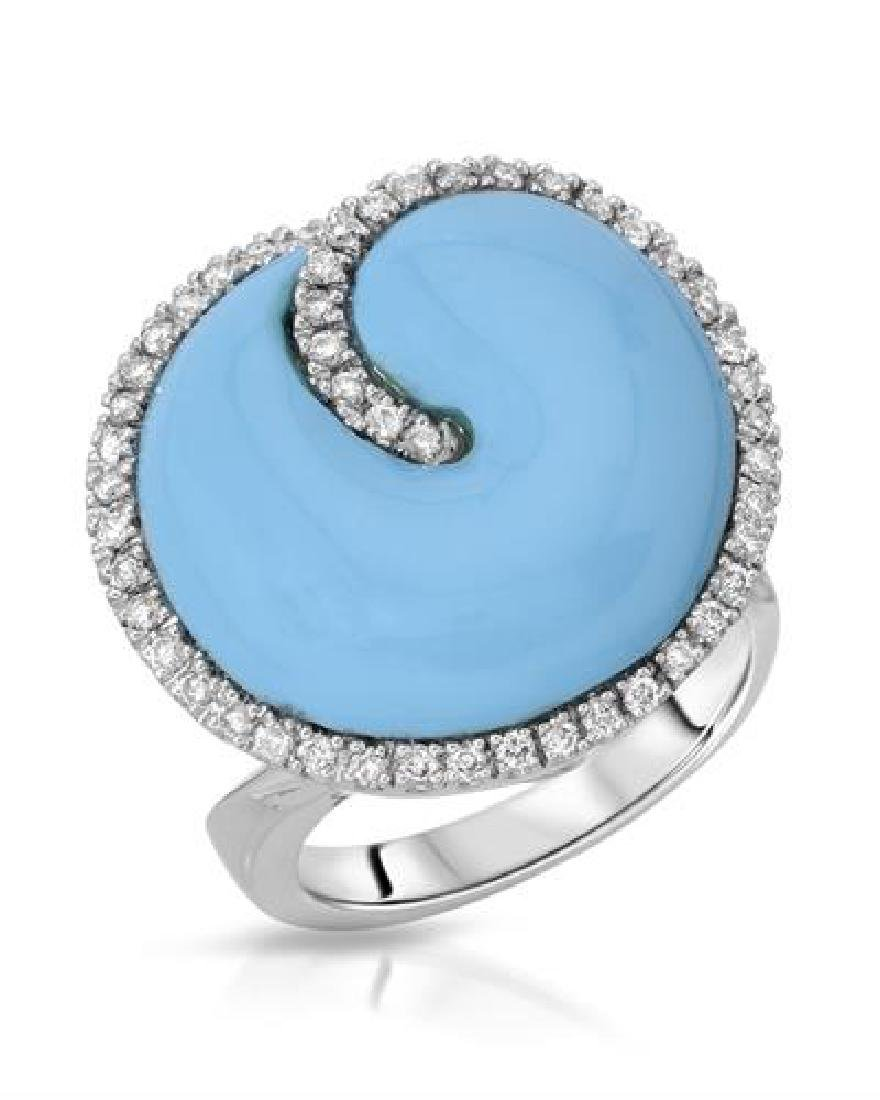 14KT White Gold 10.08ct Turquoise and Diamond Ring