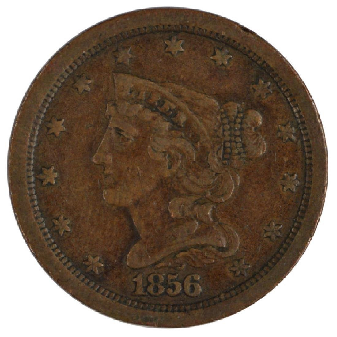1856 Braided Hair Half Cent Coin