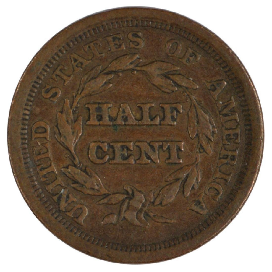 1856 Braided Hair Half Cent Coin - 2