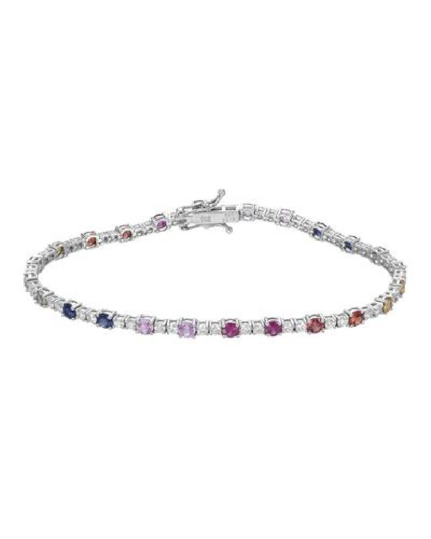 18KT White Gold 3.30ctw Multi Color Sapphire and