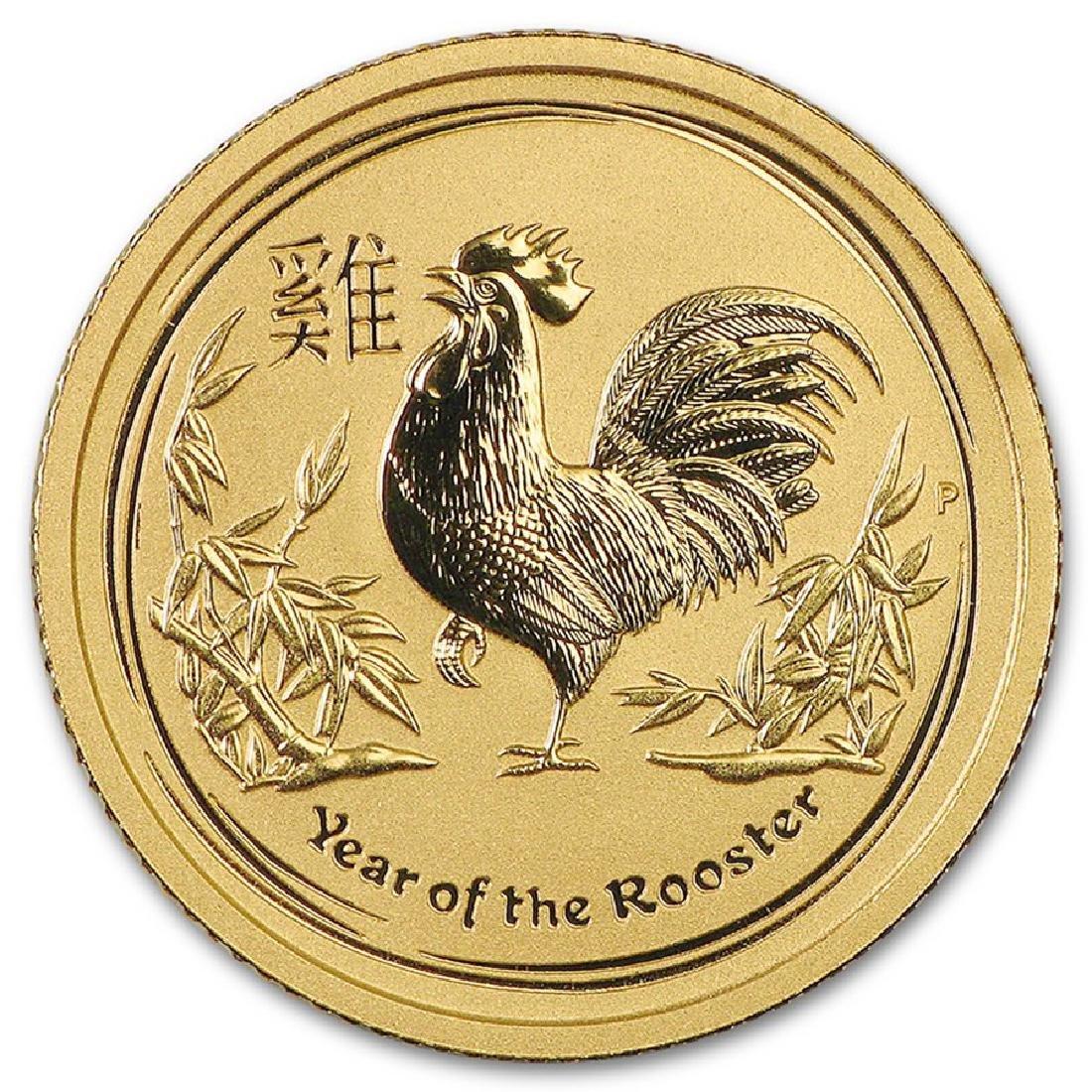 2017 Australia 1/10 oz Lunar Rooster Gold Coin