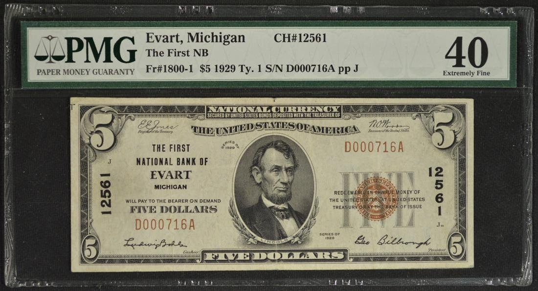 1929 $5 First National Bank of Evart Michigan Note PMG