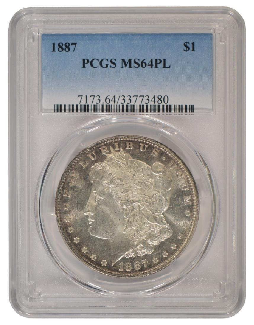 1887 $1 Morgan Silver Dollar Coin PCGS MS64PL