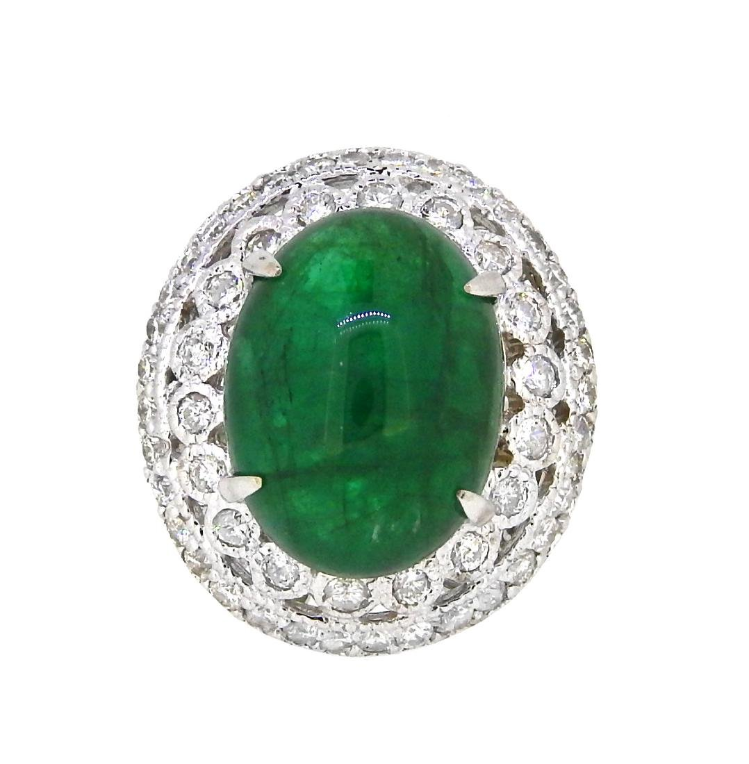 18KT White Gold 12.20ct GIA Cert Emerald and Diamond