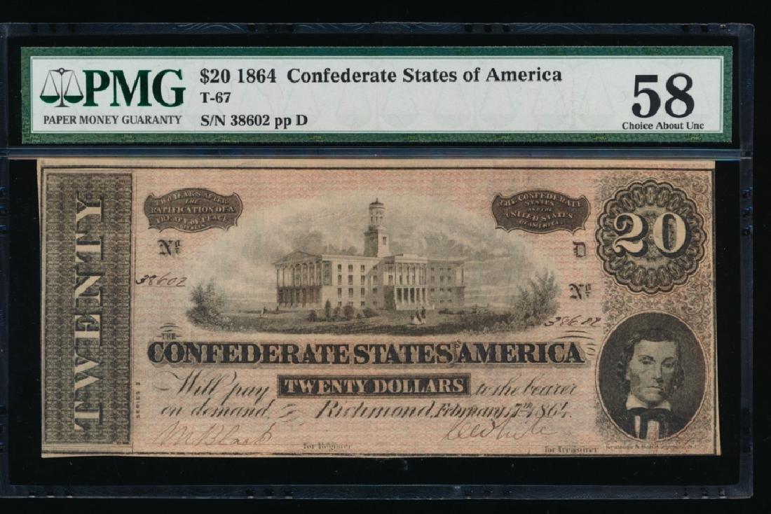 1864 $20 Confederate Sates of America Note PMG 58