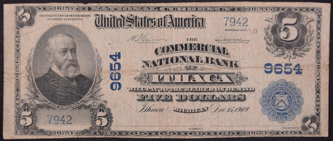 1902 $5 Commercial National Bank of Ithaca Note