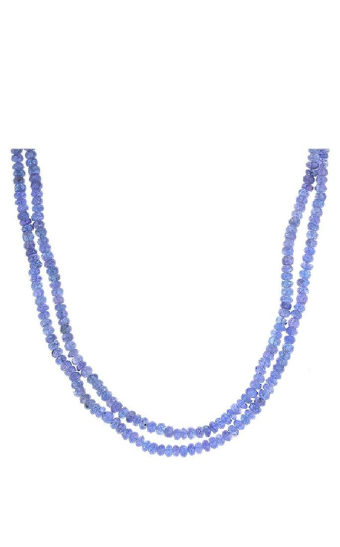 14KT Yellow Gold 130.00ctw Tanzanite Beaded Necklace